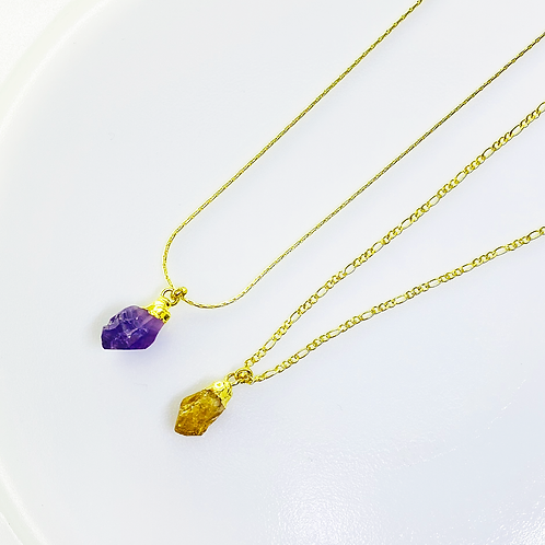 Necklace (Amethyst and Citrine)(Chain:40 cm)