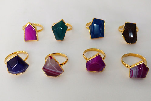 Freeform agate ring (Sized) (Mixed Colors)