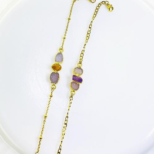 Bracelets Chain (Druzy+Amethyst+Citrine)