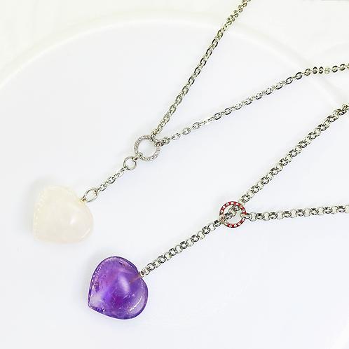 Necklace (Rose Quartz - Amethyst)(Chains: 45-50 cm)