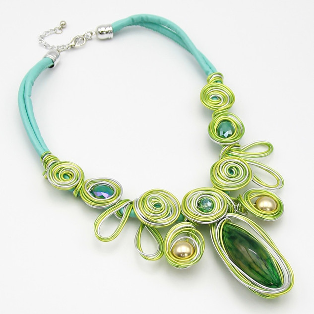 SOLD OUT  Green Resin Wire Collar $20
