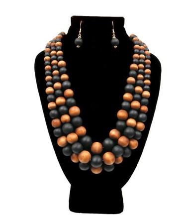 Black Brown Wooden Beads $15