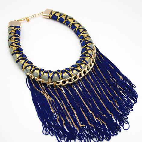 BLUE Fringe Collar $15