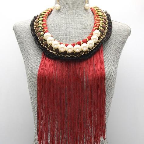 Red Fringe Pearl Long $15