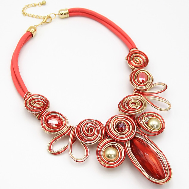 SOLD OUT Red Resin Wire Collar $20