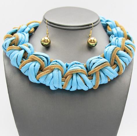 Blue Leather Braid $15