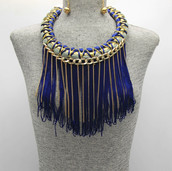 BLUE Fringe Collar $15