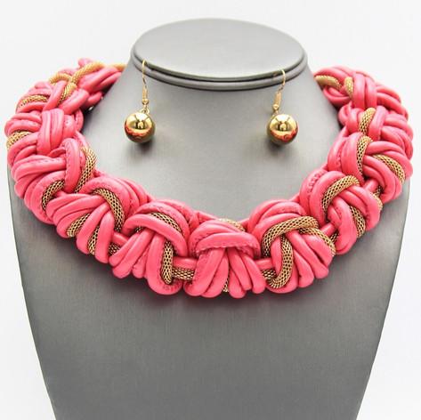 Pink Leather Braid $15