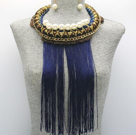Blue Fringe Pearl Long $15