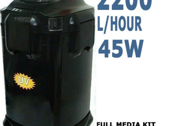 Hopar Aquarium External Canister Fish Tank Water Filter 2200 LPH + Aqua Sponge