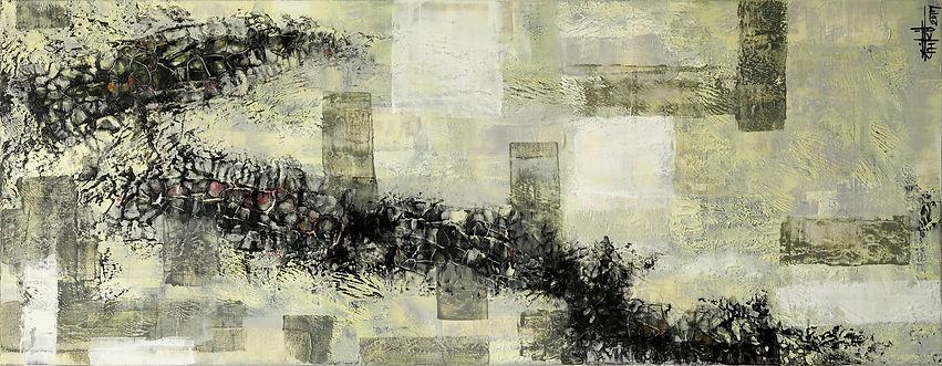 """Texture#4- Mixed Media on canvas, 36"""" x 14"""", 2017"""