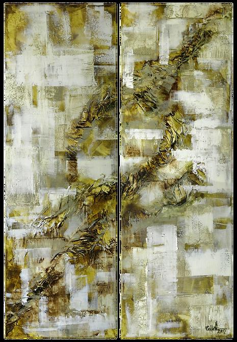 "Texture #3- Mixed mediaon canvas, Diptych 24"" x 36"", 2017"