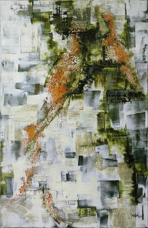 """Texture #1- Mixed mediaon canvas, 52"""" x 31"""", 2017"""