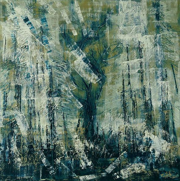 "Woods 01- Mixed mediaon canvas, 24"" x 24"", 2017"
