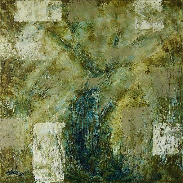 "Woods #3- Mixed mediaon canvas, 24"" x 24"", 2017"
