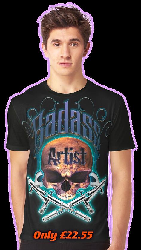 Badass Artist Blue Graphic Tee by OrganicBeej