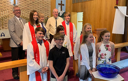 Confirmation 2019 Chi Rho with teachers.