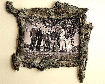 unique driftwood frame, driftwood photo frame, unusual handcrafted frames, Handmade Wooden wall decor, unique wood picture frame, unique family portrait frame, unique handmade wood frames, unique live edge frames, native edge photo frame 8x10, unique custom picture frames, unique repurposed wood frame