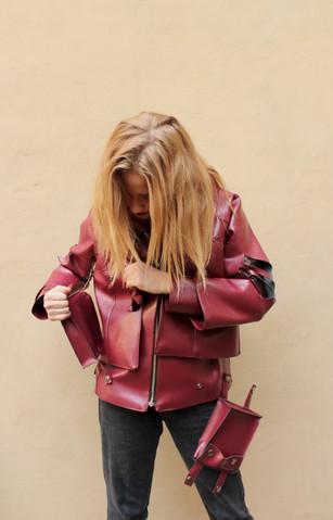 Bi-Layered Vegan Leather Jacket