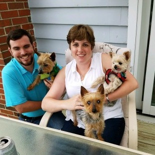 Chris w/Jasper & Ashling w/Tommy (also adopted from Yorkies Inc.) & Peyton (front)