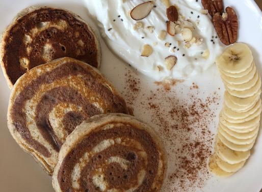 Vegan Peach Cinnamon Swirl Pancakes