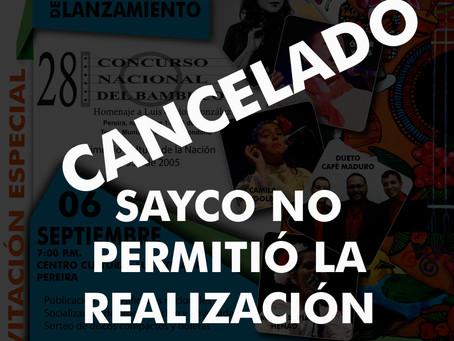 CANCELADO CONCIERTO DE LANZAMIENTO DEL XXVIII CONCURSO NACIONAL DEL BAMBUCO