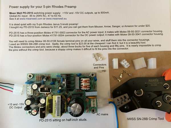 5-Pin Power Supply for Rhodes Janus Preamp - DIY