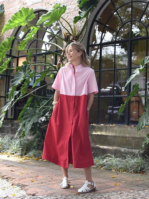 Vestido Bicolor Vermelho My Basic