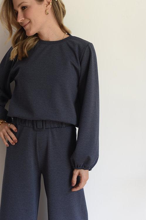Sweater de Moletom Azul Mescla Missinclof
