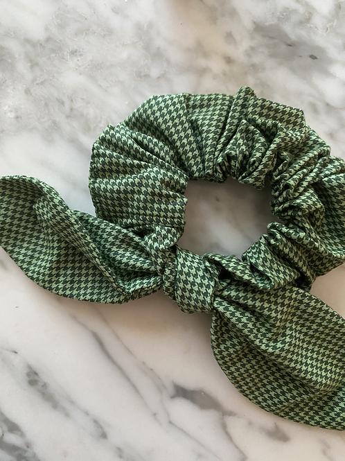 Scrunchie em piet de poule Verde