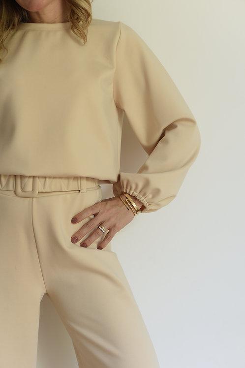 Sweater de Moletom Bege Missinclof