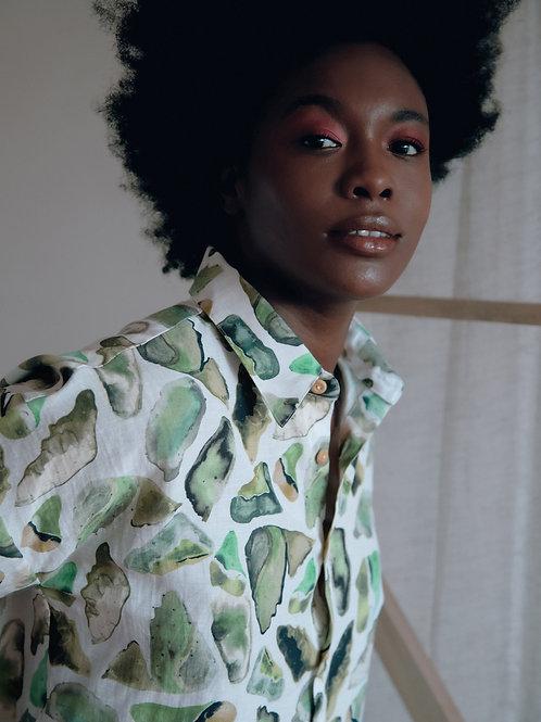 Camisa Samira Verde Cru Ateliê