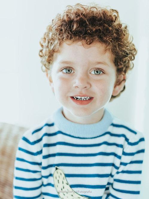 Sweater Infantil Listrado Banana Azul Demain