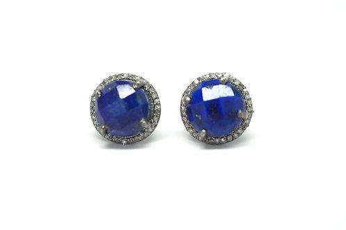 Lapis Lazuli & Diamond Stud Earrings