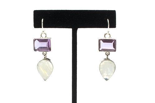 Enchanted Purple Moon Drop Bezel Earrings