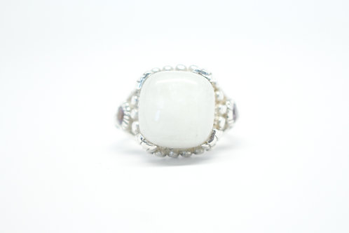 Victorian White Moonstone & Pink Amethyst Ring