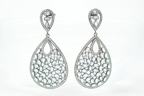 Aquamarine & White Topaz Pavè Raindrop Earrings