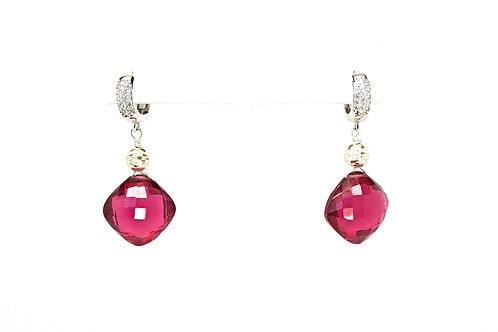 Raspberry Quartz Cocktail Earrings