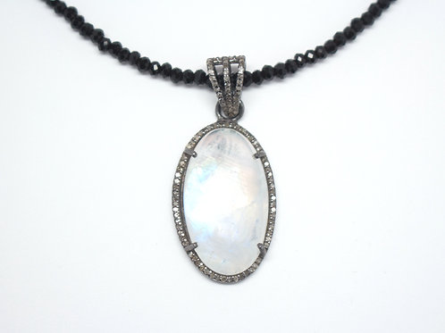 Moonstone & Diamonds on Black Spinel Necklace