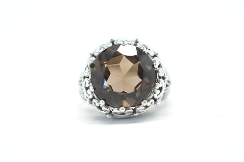 Smoldering Smoky Quartz Lotus Crown Ring