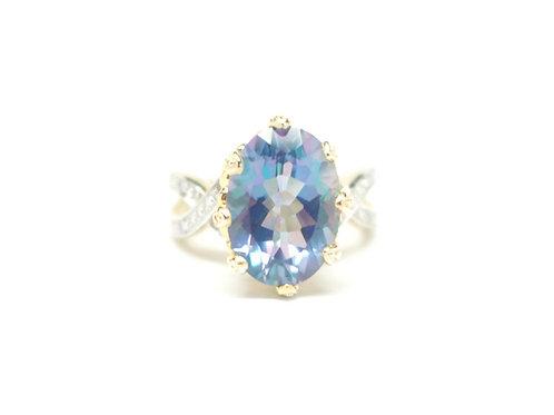 Mystic Topaz Fleur-de-lis Crown Ring