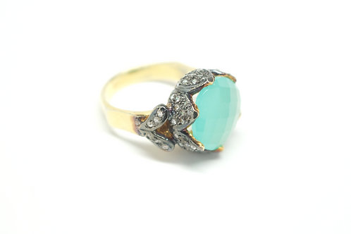 Sea Green Chalcedony Marchioness Lotus Ring