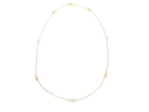 Gold Stardust & Aqua Quartz Necklace