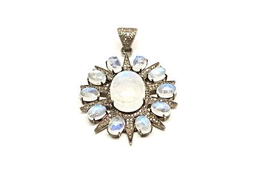 North Star Pavé Diamonds & Moonstone Pendant