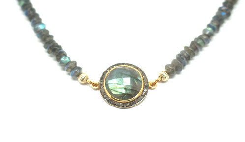 Labradorite Diamonds Roman Goddess Necklace Virgin Beauty