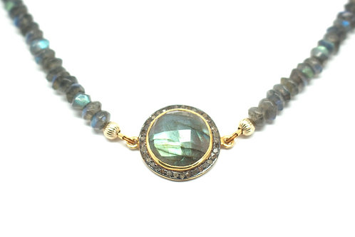 Labradorite & Diamonds Roman Goddess Necklace