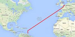 Frachtschiff Route