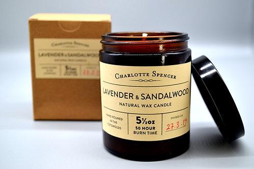 Lavender & Sandalwood 5.5 oz Natural Wax Candle
