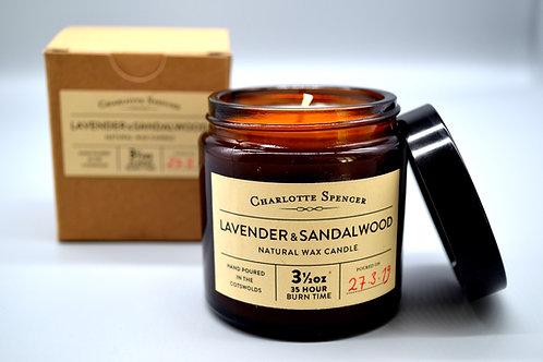 Lavender & Sandalwood 3.5 oz Natural Wax Candle