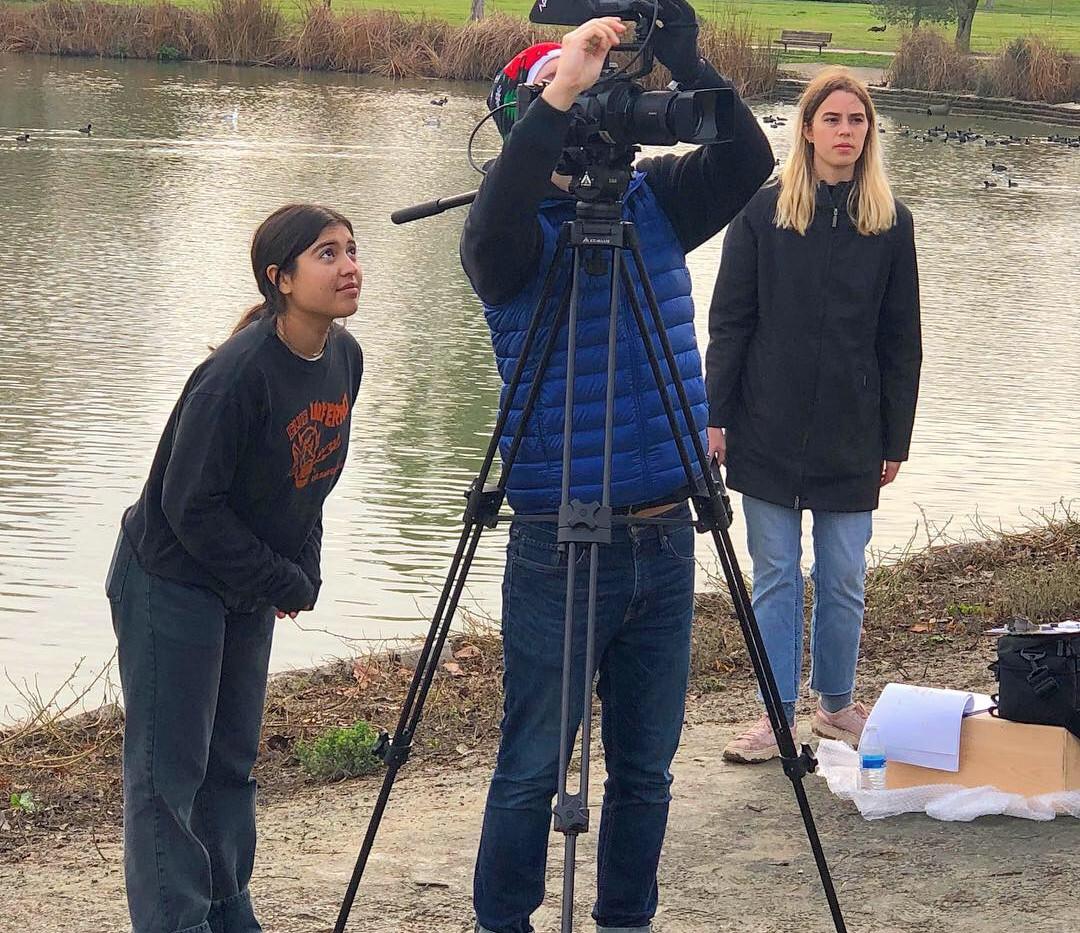 Elisha and Sylvia on set
